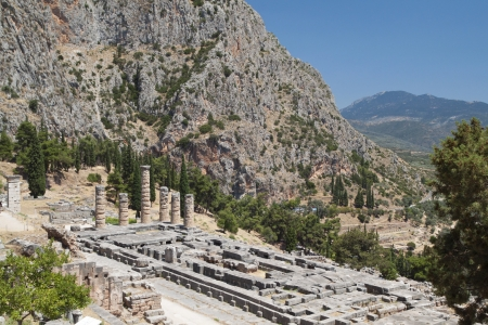 Temple of Apollo at ancient Delphoi in Greece photo