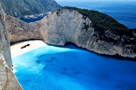 Navagio beach at Zakynthos island in Greece