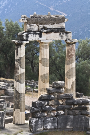 Temple of Athena pronoia at ancient Delphoi in Greece photo