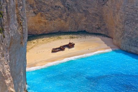 Navagio beach at Zakynthos island in Greece photo