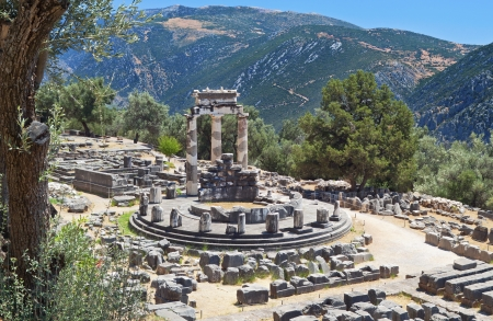 delfi: Temple of Athena pronoia at ancient Delphoi in Greece Stock Photo