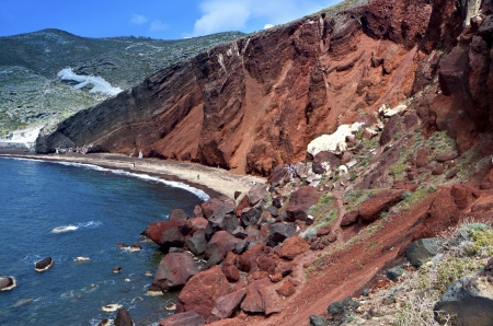 kyklades: The volcanic Red beach at Santorini island in Greece