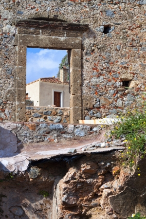 peloponnise: Fortified village of Monemvasia in Greece Stock Photo