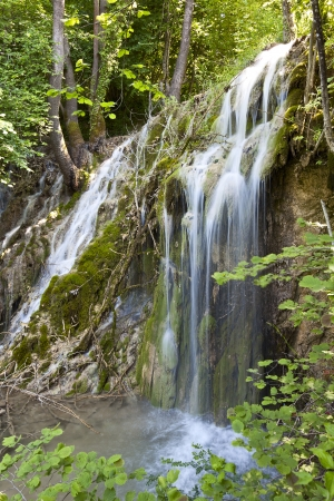 Tropical scenery of Skra waterfalls at north Greece Stock Photo - 15993536