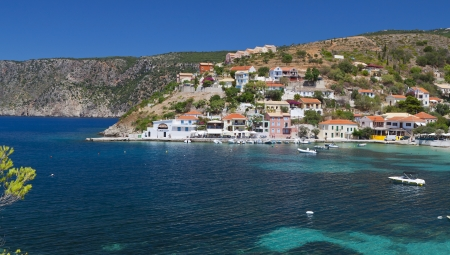 Fishing village of Assos at Kefalonia island in Greece photo