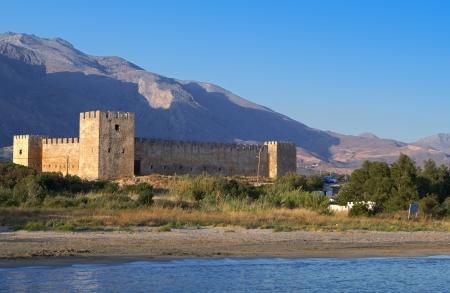 kreta: Fragokastelo castle and beach at Crete island in Greece Editorial