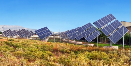 Solar power unit for the conversion of sunlight into electricity Stock Photo