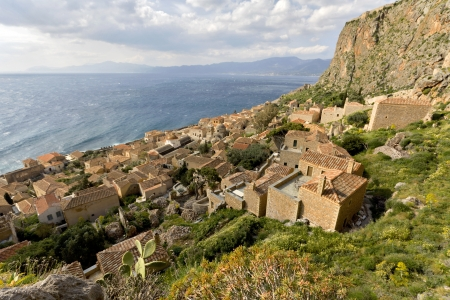 peloponnise: Medieval era fortified village of Monemvasia in Greece