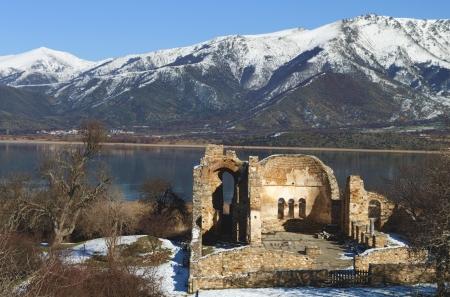 Saint Achilleios church ruins at lake Prespa in Greece  photo