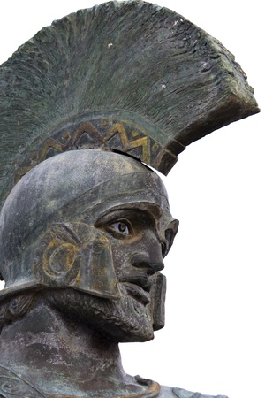 Leonidas statue and monument at Sparta city in Greece Stock Photo