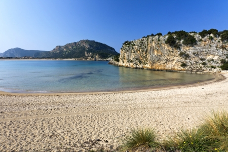 Voidokilia beach at Sfaktiria, Peloponnese, Pylos, Greece