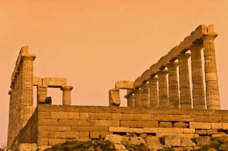 Temple of Poseidon at cape sounio, Attica, Greece photo
