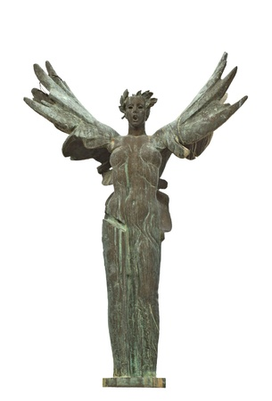 Winged Niki greek statue at ancient Olympia in Greece photo