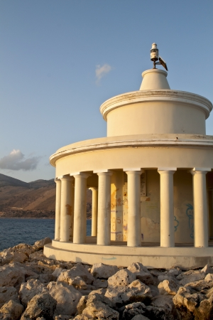 kefallinia: Lighthouse at Argostoli of Kefalonia island in Greece Stock Photo