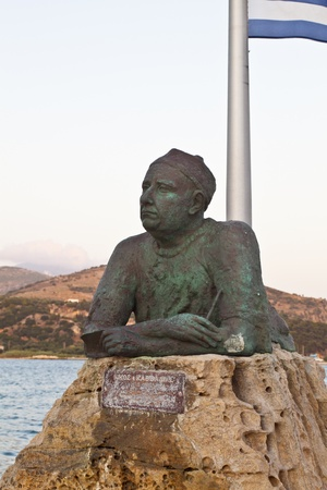 kefallinia: Statue of poet Nikos Kavadias at Kefalonia island in Greece