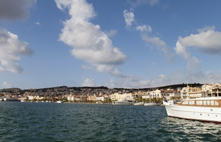 kefalinia: Harbor of Argostoli city at Kefalonia island in Greece Stock Photo