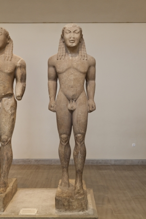 delfi: Kouros greek ancient statue found Delfi Editorial