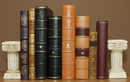 Old antique leather books Stock Photo