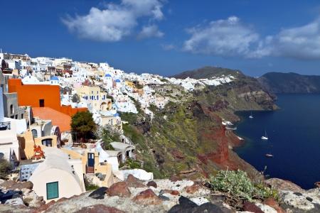 Oia village at Santorini island in Greece photo