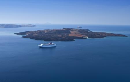 kyklades: The volcano of Santorini island in aegean sea, Greece