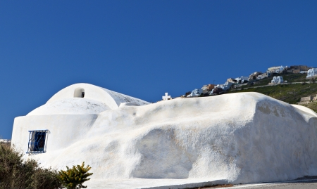 kyklades: Traditional church at Santorini island in Greece Stock Photo
