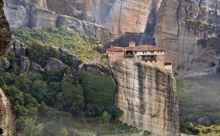 kalampaka: Hanging monastery at Meteora of Kalampaka in Greece