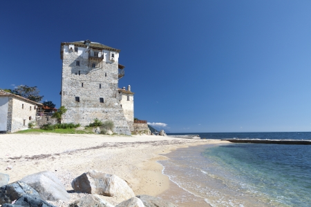 Tower of Ouranoupolis at Chalkidiki in Greece photo