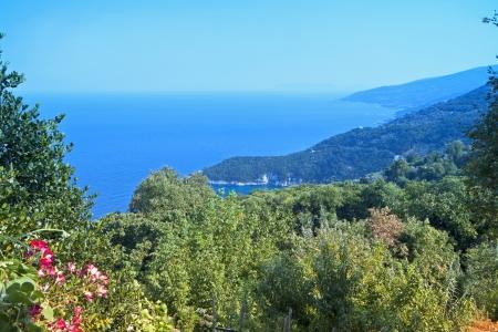 Tropical scenery at Tsagarada of Pelion in Greece Stock Photo