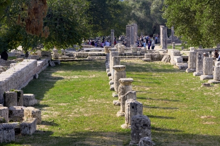 peloponissos: Ancient Olympia site in Greece  Editorial