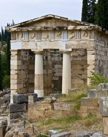 athenians: The Athenians treasury at ancient Delphoi in Greece Stock Photo