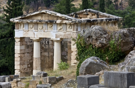 athenians: The Athenians treasury at ancient Delphoi in Greece Editorial