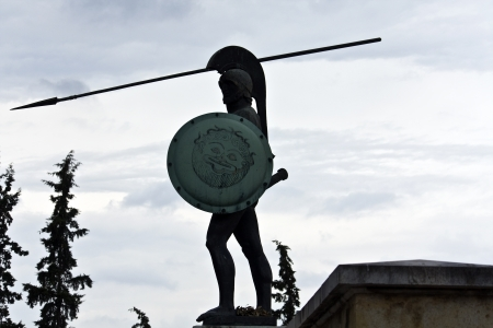 Leonidas statue at Thermopylae monument in Greece