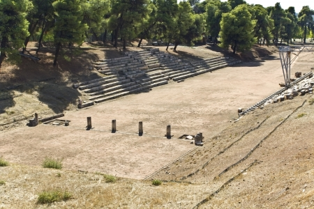 peloponissos: Ancient stadium at Epidaurus of Peloponnese in Greece Editorial