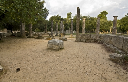 peloponissos: Palaistra at ancient Olympia in Greece