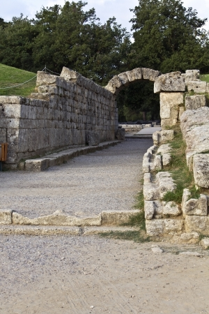 Main entrance at ancient Olympia stadium in Greece photo