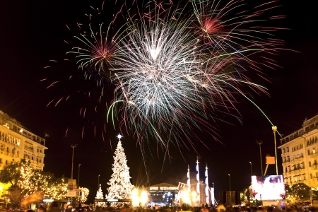 central square: Christmas celebrations at Thessaloniki city in Greece