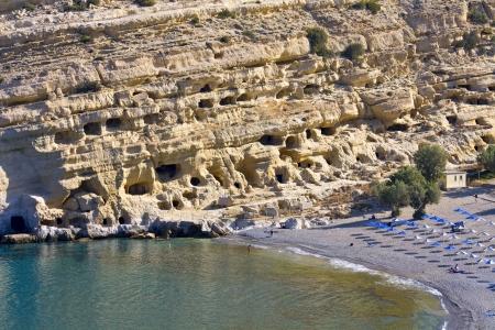 kreta: Matala beach at Crete island in Greece