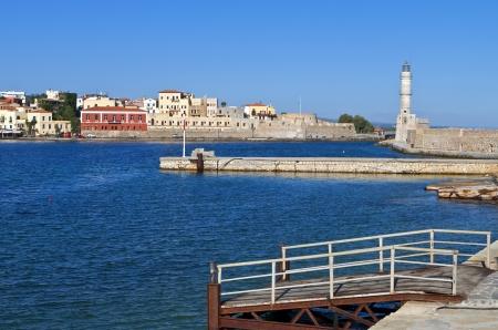 kreta: Hania city at Crete island in Greece  The harbor Stock Photo