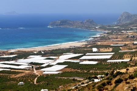 kreta: Falasarna bay and beach at Crete island in Greece