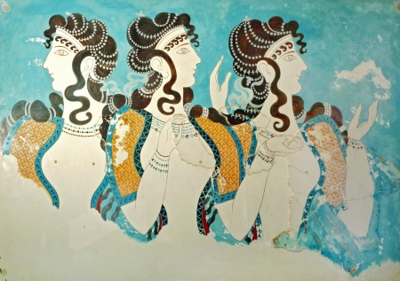 Ancient fresco from Knossos palace at Crete, Greece  Editorial