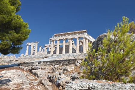 Temple of Aphaea Athina at Aegina island in Greece photo