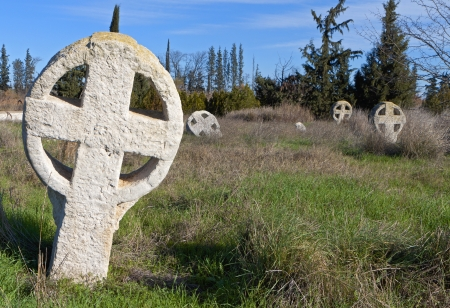 templars: Medieval cemetery with celtic crosses in Europe
