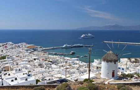 Island of Mykonos at the Cyclades in Greece Stock Photo