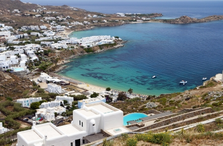 Psarou beach at Mykonos island in Greece photo