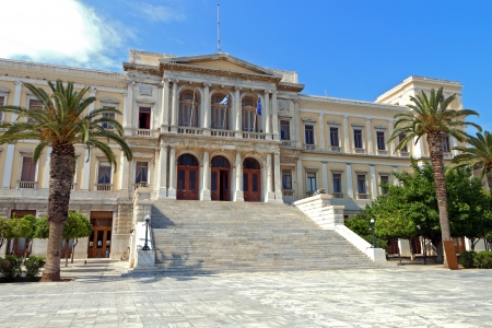 kyklades: The City Hall of Ermoupolis town at Syros island in Greece Stock Photo