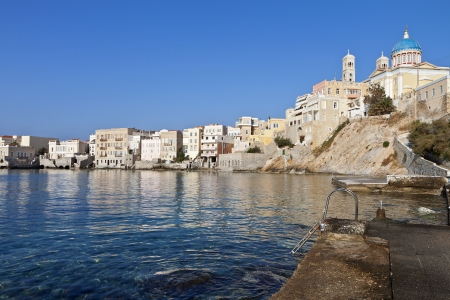 View of Ermoupolis town at Syros island in Greece