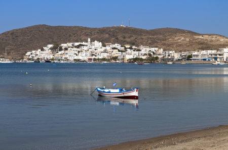 Adamas town area at Mylos island in Greece