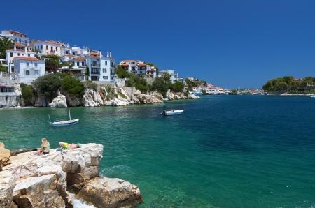 Skiathos island in Greece  View of Plakes area