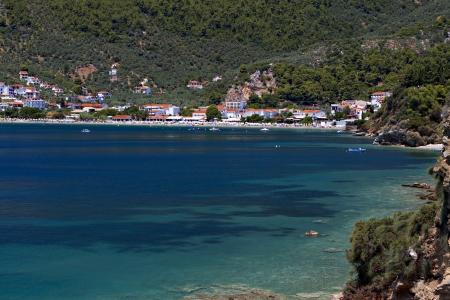 skiathos: Megali Ammos beach at Skiathos island in Greece