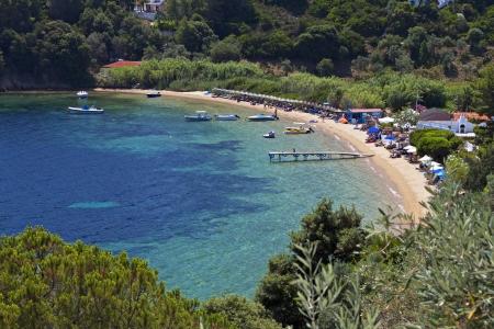 skiathos: Tzaneria beach at Skiathos island in Greece Stock Photo